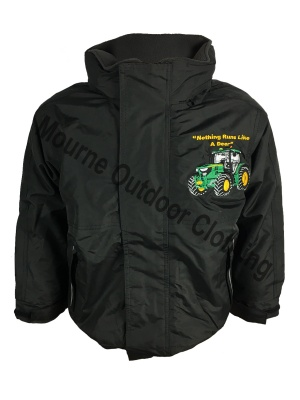 Kids Regatta John Deere Tractor Waterproof Jacket Black