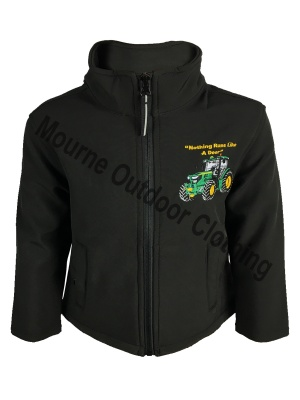 Kids Regatta John Deere Tractor Softshell Jacket Black