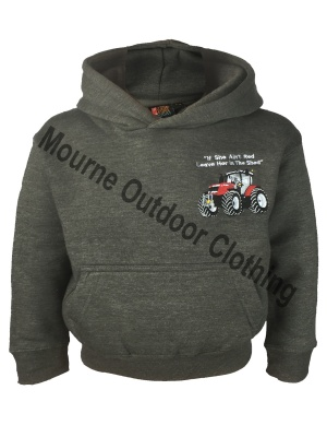 Kids Cottonridge Massey Ferguson Tractor Hoodie Charcoal