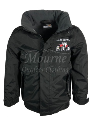 Kids Regatta Massey Ferguson Tractor Waterproof Jacket Black