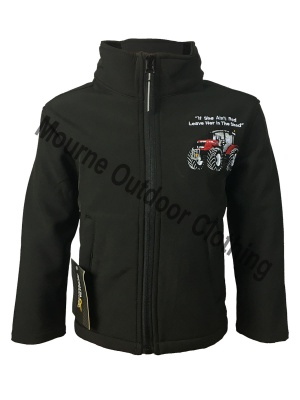 Kids Regatta Massey Ferguson Tractor Softshell Jacket Black