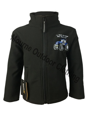 Kids Regatta New Holland Tractor Softshell Jacket Black