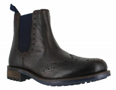 Catesby Leather Chelsea Brogue Boots Brown