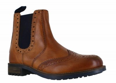 Catesby Leather Chelsea Brogue Boots Tan