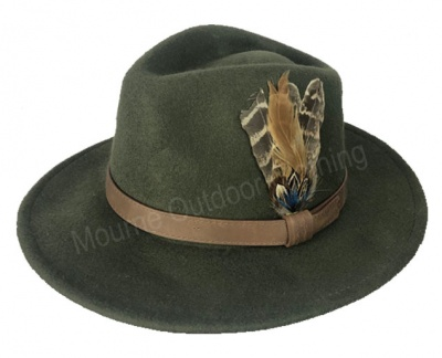 House Of Tweed Fedora Hat Olive