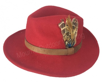 House Of Tweed Fedora Hat Red
