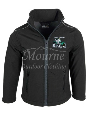 Kids Deutz Tractor Softshell Jacket Black