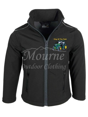 Kids King Of The Field Tractor Softshell Jacket Black