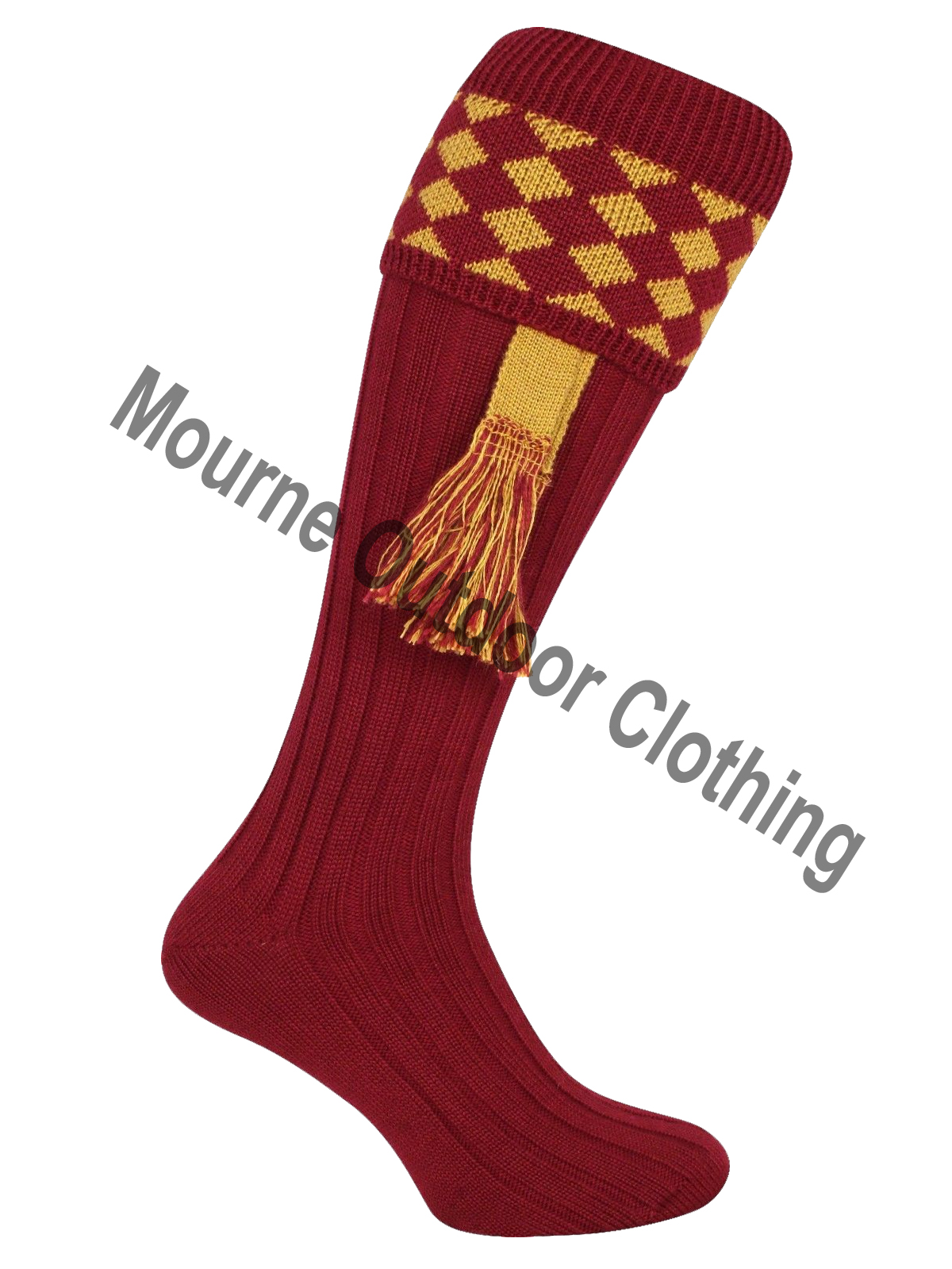 Jack Pyke Harlequin Socks with Garters Burgundy