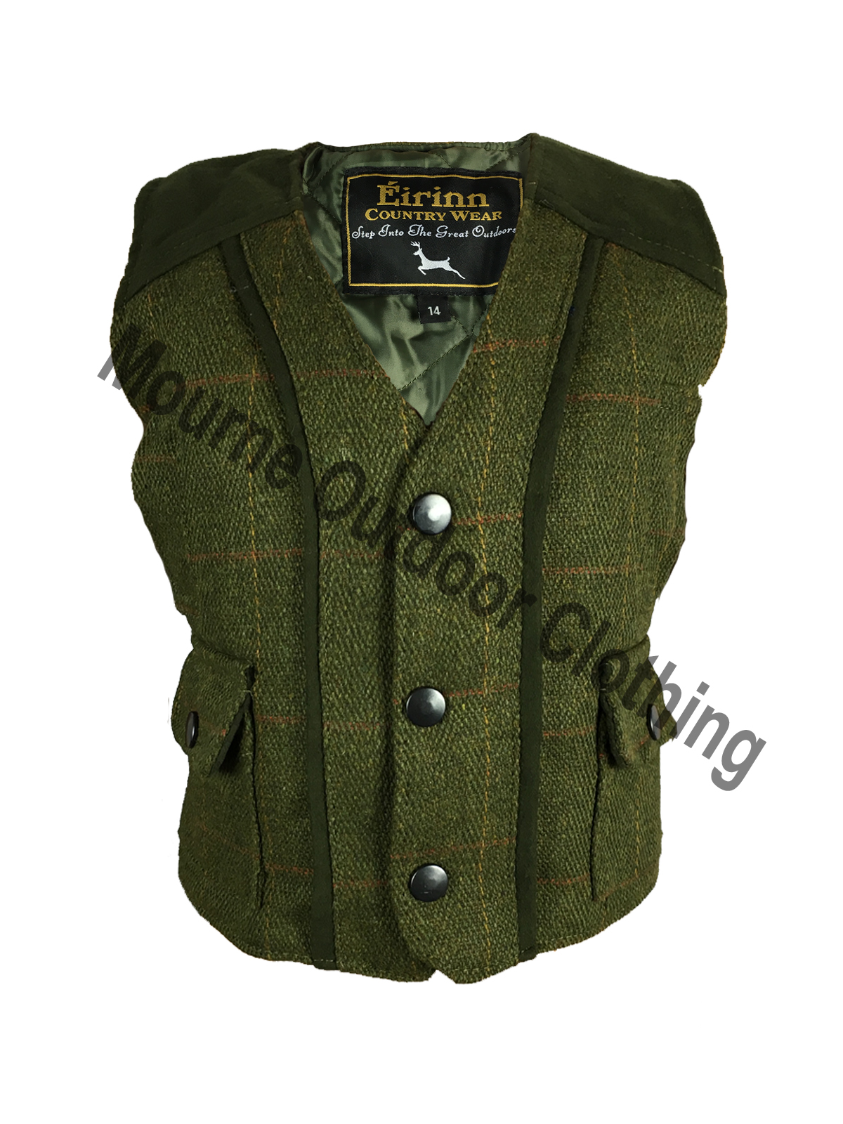 Kids Tweed Gilet Dark Sage