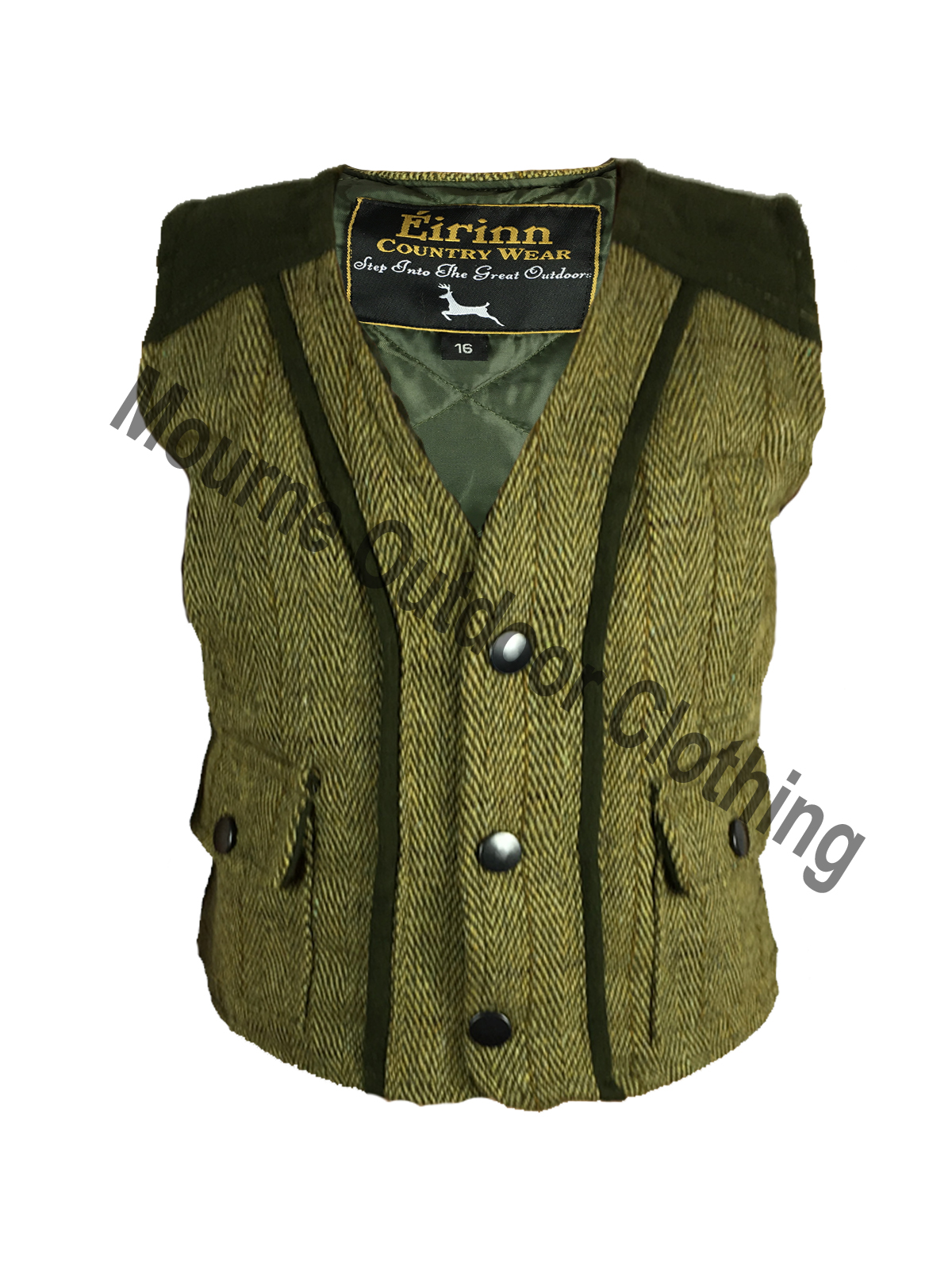 Kids Tweed Gilet Light Sage