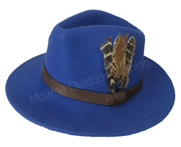 House Of Tweed Fedora Hat Blue