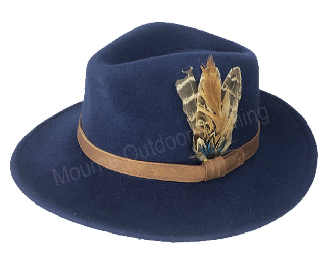 House Of Tweed Fedora Hat Navy