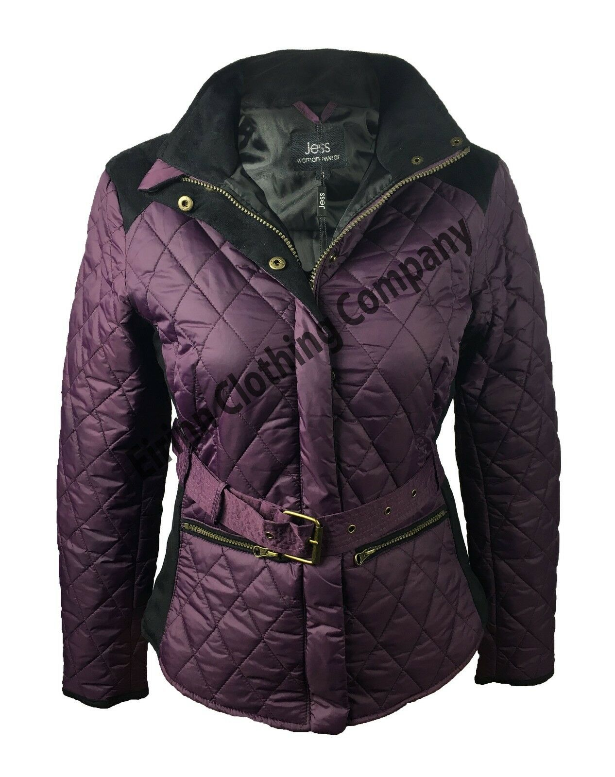 Jess Suede Quilted Jacket Plum