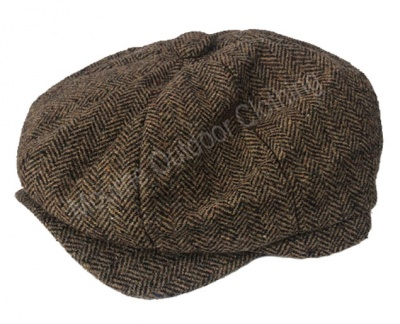 Walker & Hawkes Baker Boy Cap Brown Herringbone