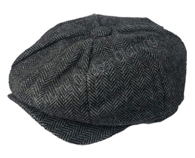Walker & Hawkes Baker Boy Cap Grey Herringbone
