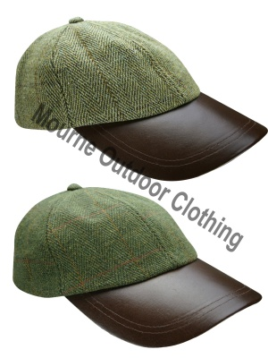 Tweed Baseball Cap Leather Peak